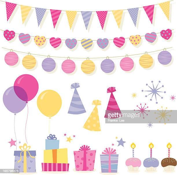 illustrations, cliparts, dessins animés et icônes de éléments d'anniversaire - gateau anniversaire