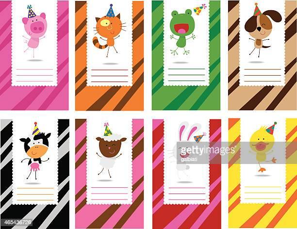 birthday farm animals cards - happy birthday cat stock illustrations