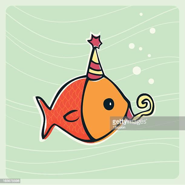 illustrations, cliparts, dessins animés et icônes de anniversaire de poisson - poisson rouge