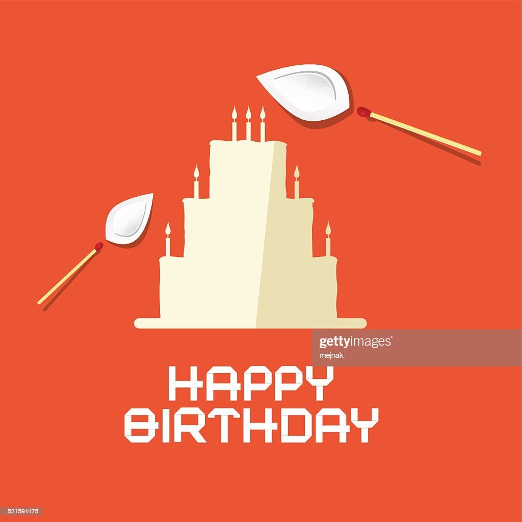 Birthday Flat Design Paper Cake On Red Background Vector Art Getty