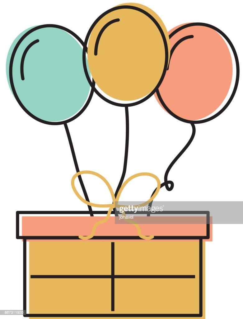 Birthday Gift Box With Balloons Decoration Celebration Vector Art