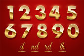 Birthday golden numbers and ending of the words isolated on red background. Vector design elements.
