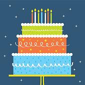 birthday greeting card design wit colorful birthday cake