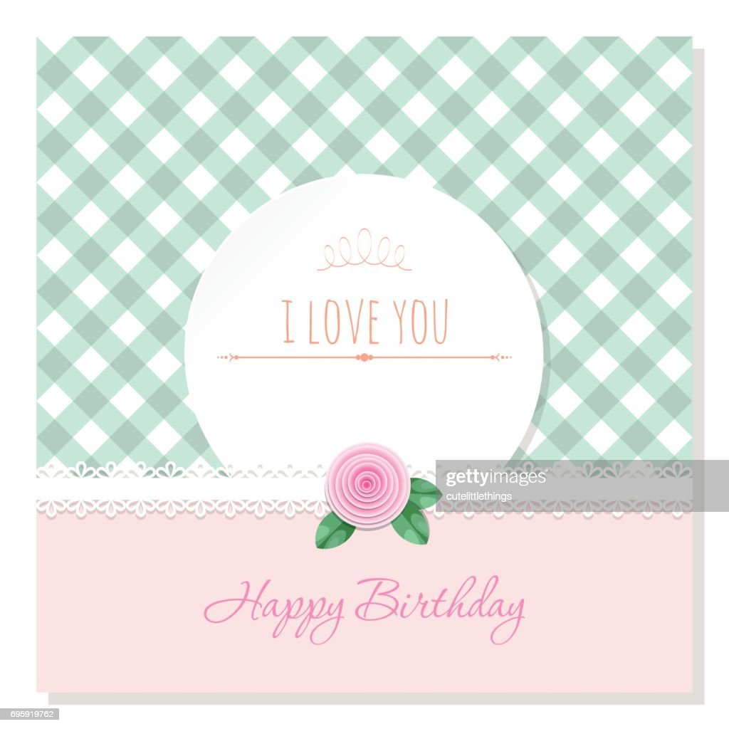 Birthday Greeting Card Template Round Frame On Plaid Background Shabby Chic Design