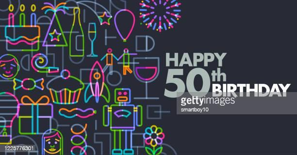 誕生日の挨拶 - 数字の50点のイラスト素材/クリップアート素材/マンガ素材/アイコン素材