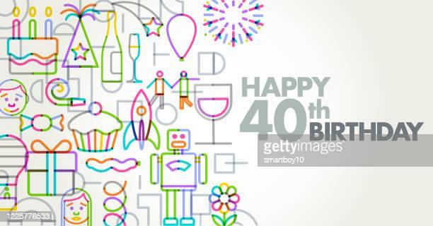 誕生日の挨拶 - 40歳の誕生日点のイラスト素材/クリップアート素材/マンガ素材/アイコン素材