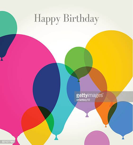 birthday greeting with balloons - balloon stock illustrations