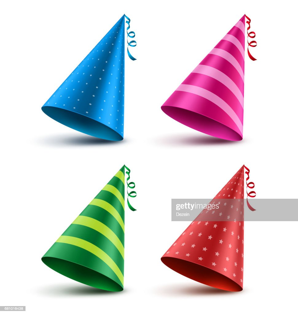Birthday hat vector set with colorful patterns elements and decorations