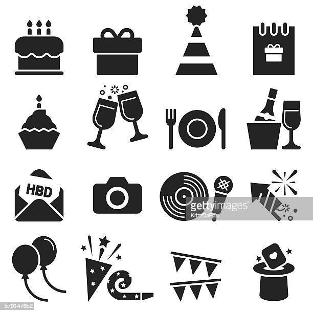 birthday icons [black edition] - birthday cake stock illustrations