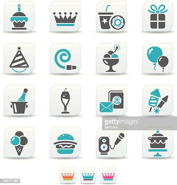 birthday icons | simicoso collection - ice bucket stock illustrations, clip art, cartoons, & icons