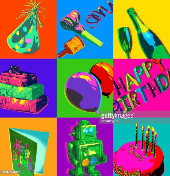 birthday icons - birthday card stock illustrations