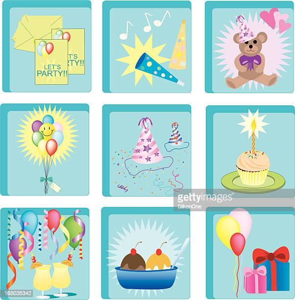 birthday icons - scoop shape stock illustrations, clip art, cartoons, & icons