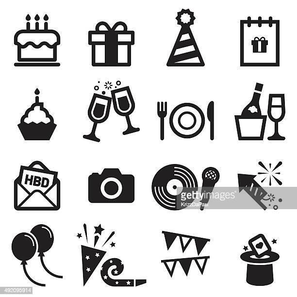 birthday icons - arts culture and entertainment stock illustrations
