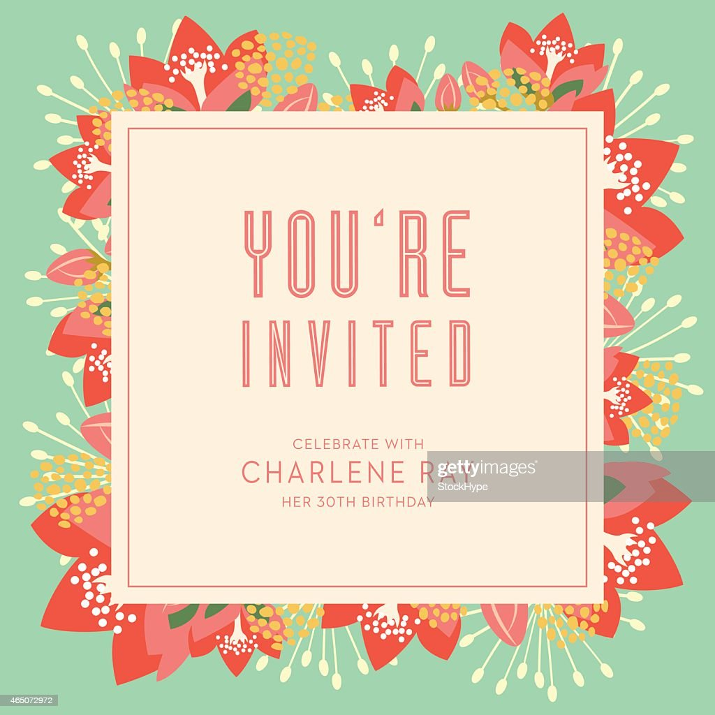 Birthday Invitation Card With Text And Floral Background