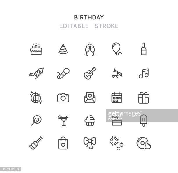 ilustrações, clipart, desenhos animados e ícones de ícones da linha de aniversário traçado editável - feriado evento