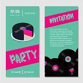 Birthday music cake. Dance party bilateral invitation for nightclub with vinyl record.