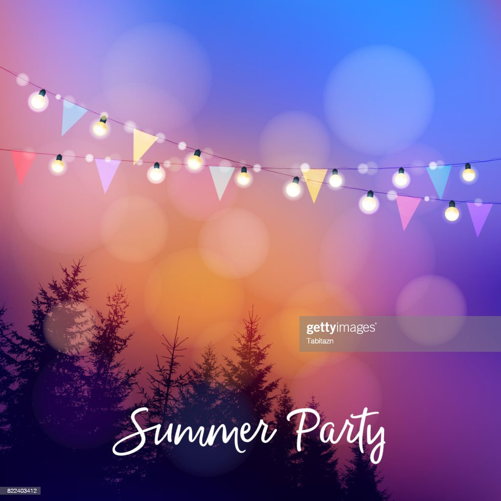 Birthday outdoor summer party or Brazilian june party, Festa junina, invitation. Vector illustration with string of lights, party flags, silhouettes of trees and sunset background