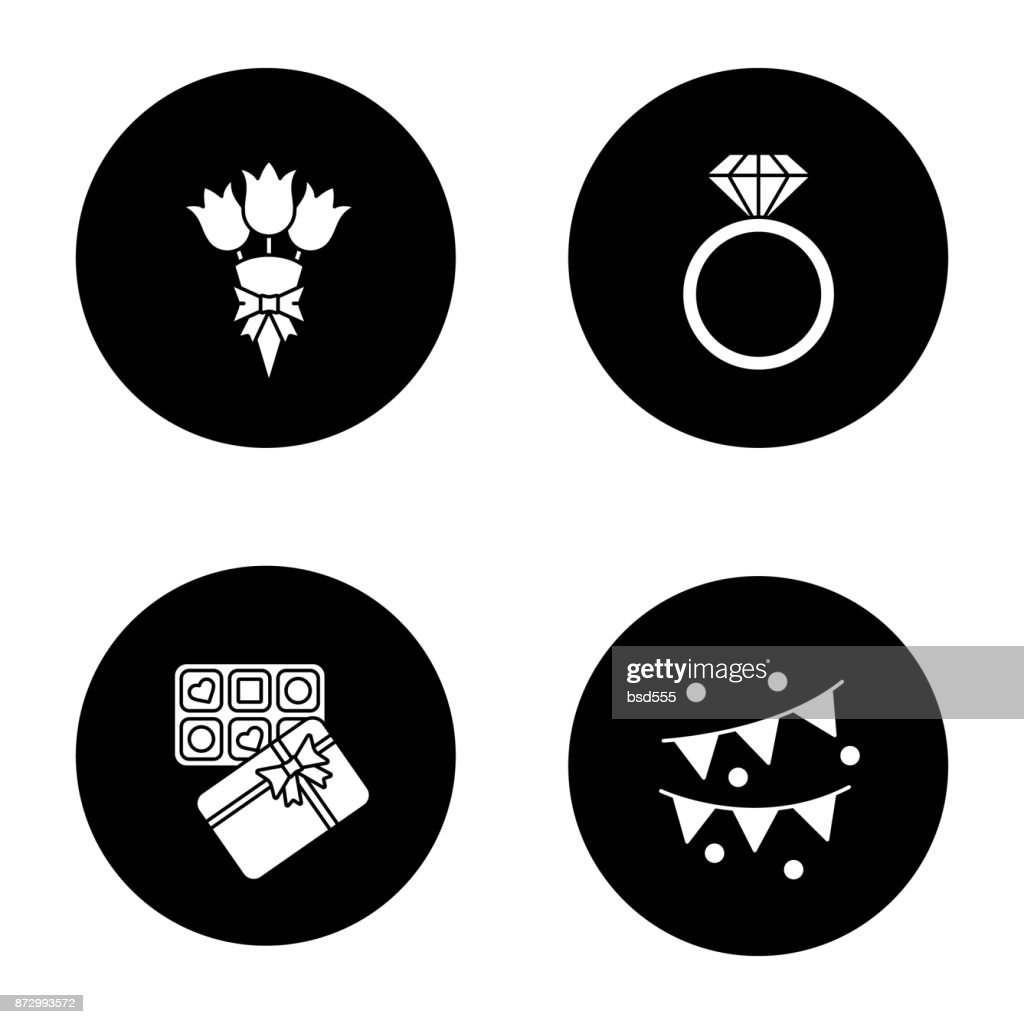 Birthday party accessories icons
