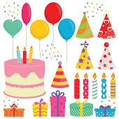 Birthday Party Collection In White Background