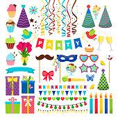 Birthday party design elements. Birthday celebration invitation decorations isolated on white