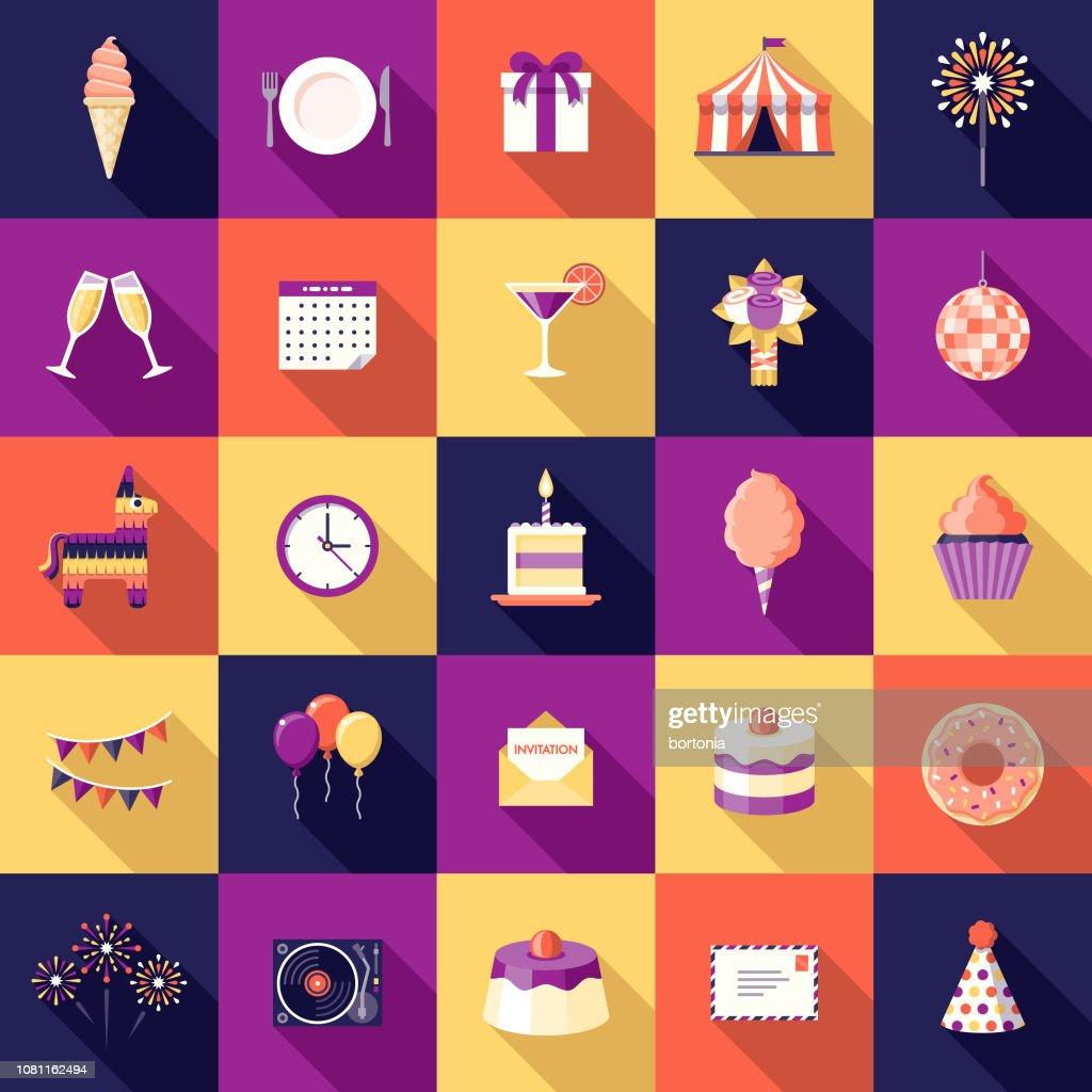 Birthday Party Flat Design Icon Set : Stock Illustration