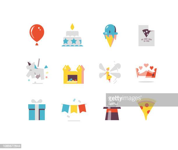 birthday party flat icons series - fairy stock illustrations
