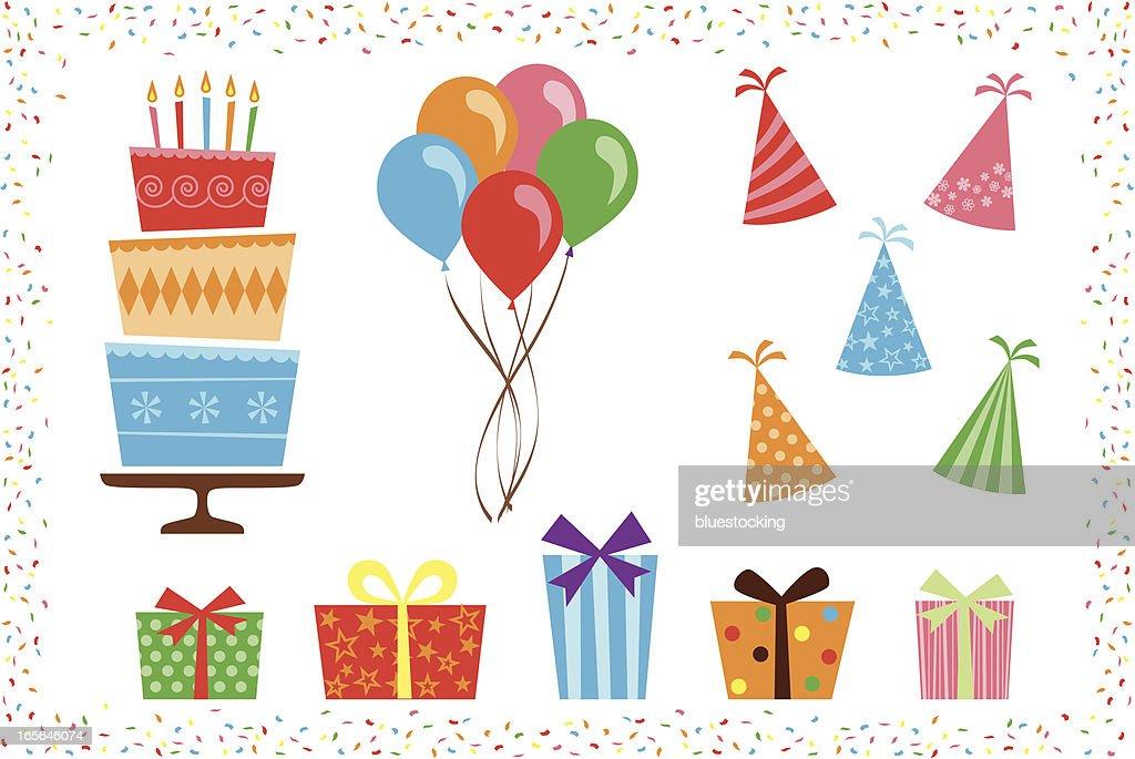 Birthday Party Icon Elements