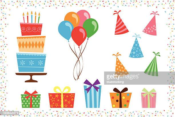 birthday party icon elements - multi colored hat stock illustrations