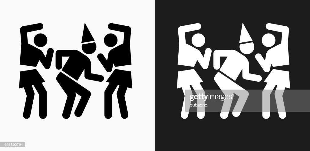 birthday party icon on black and white vector backgrounds vector art