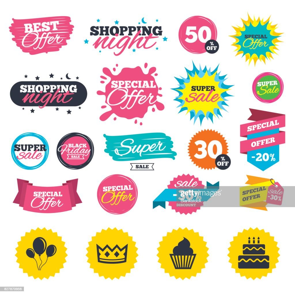 Birthday Party Icons Cake And Cupcake Symbol Vector Art Getty Images