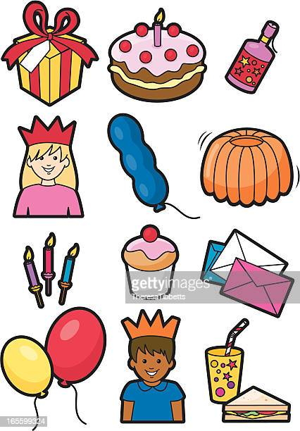birthday party icons - gelatin dessert stock illustrations, clip art, cartoons, & icons