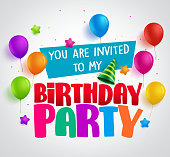 Birthday party invitation background vector design with greetings