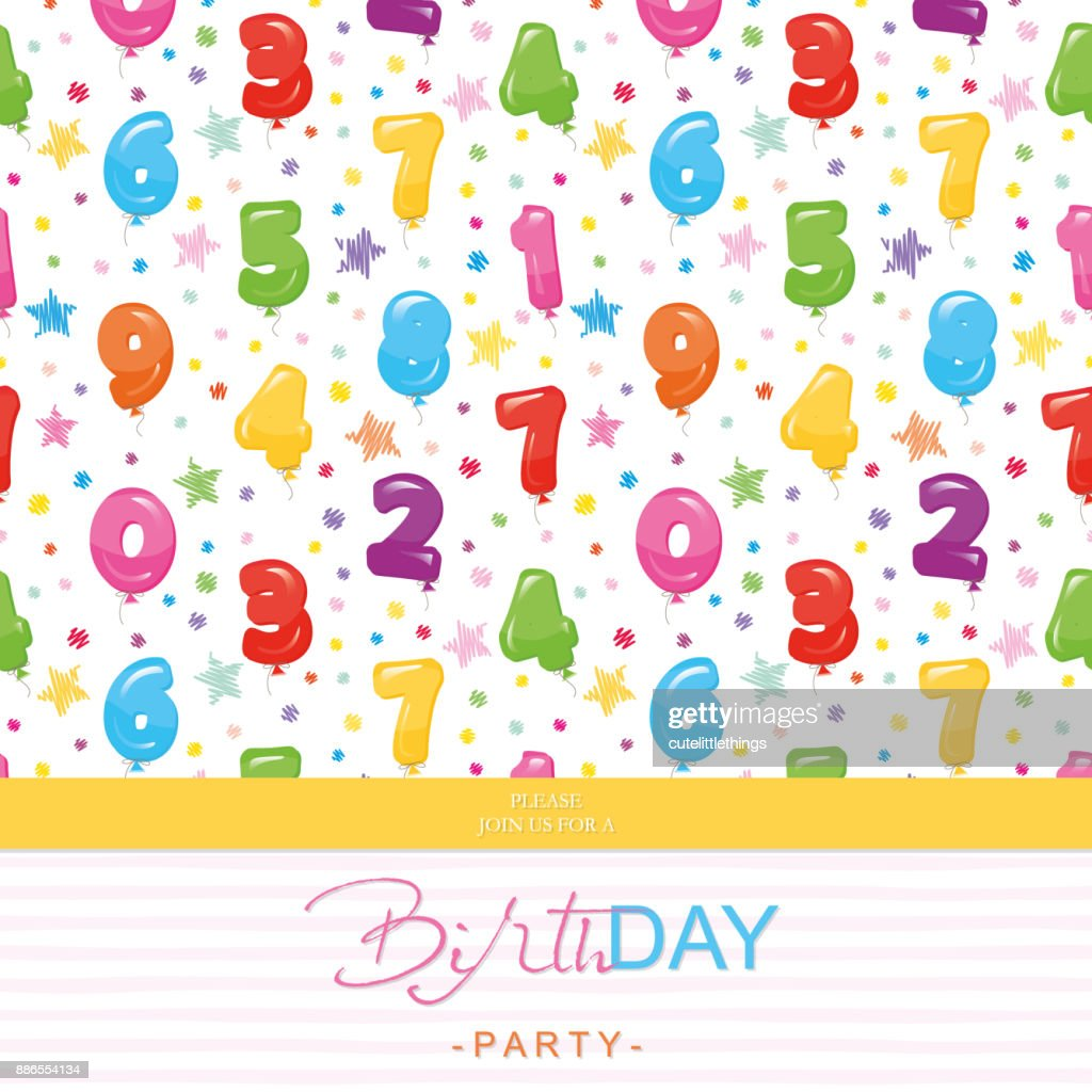 Birthday Party Invitation Card For Kids Included Seamless Pattern ...