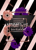 Birthday party invitation card with gold frame and gerbera flowers. Vector illustration