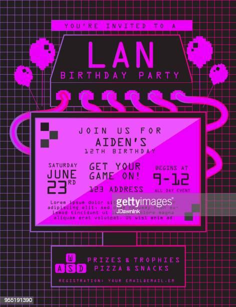 Modèle de conception LAN anniversaire fête invitation