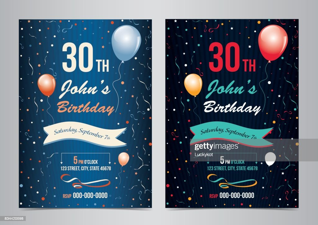 Birthday party invitation layout template. Vector illustration.