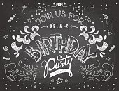 Birthday party invitation on chalkboard