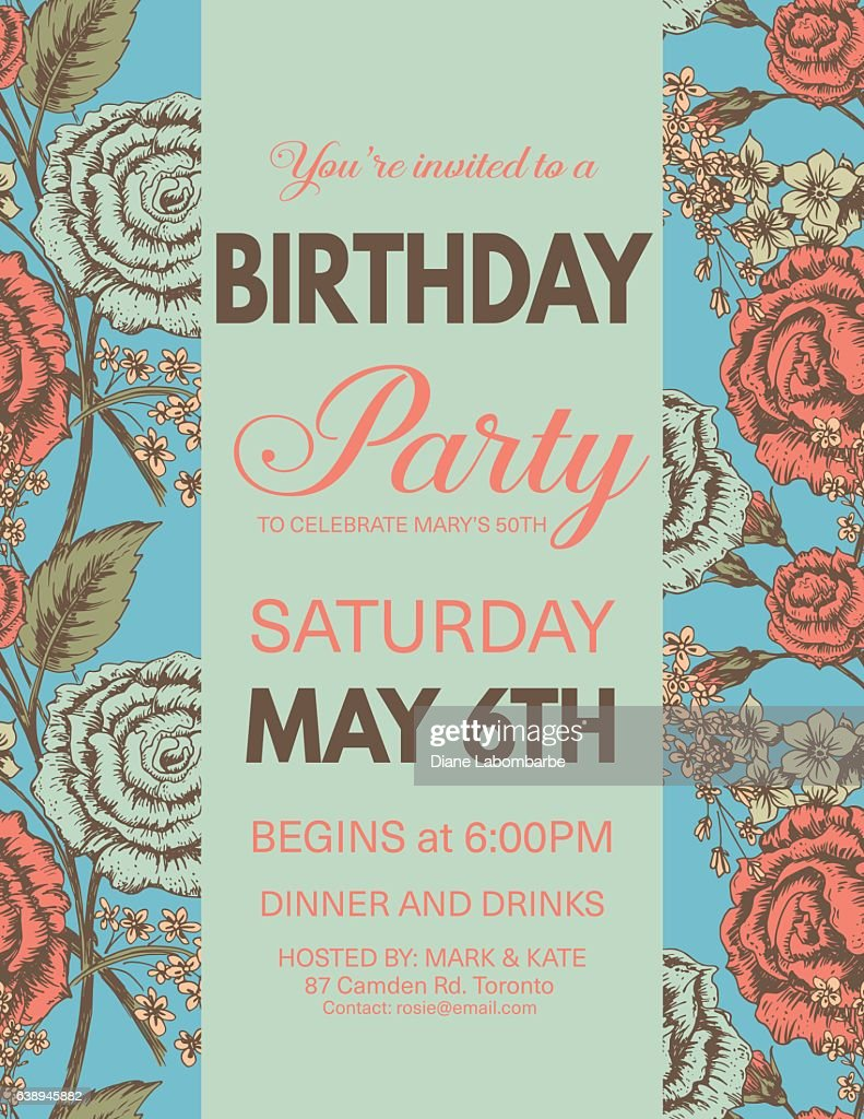birthday party invitation on roses pattern ベクトルアート getty images
