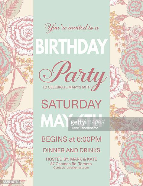 Birthday Party Invitation On Roses pattern