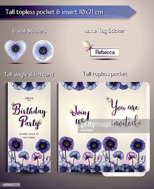 Birthday Party Invitation set Anemones Flowers. Tall pocket and insert