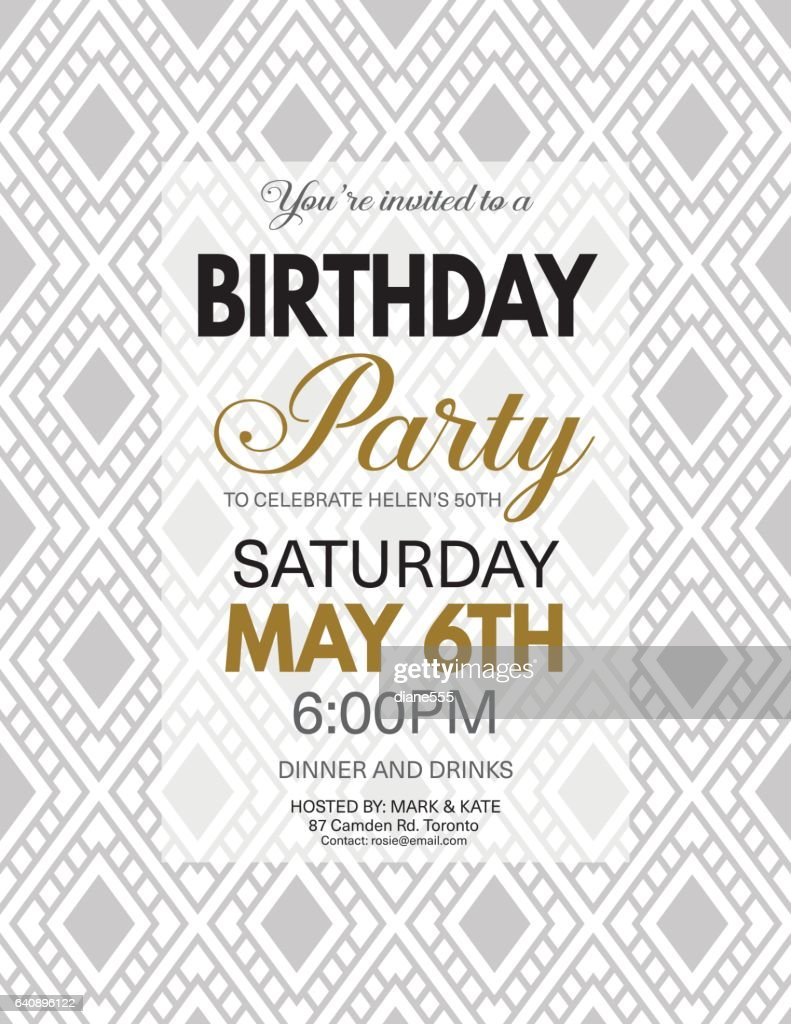 Birthday Party Invitation Template On A Bold Geometric Pattern ...