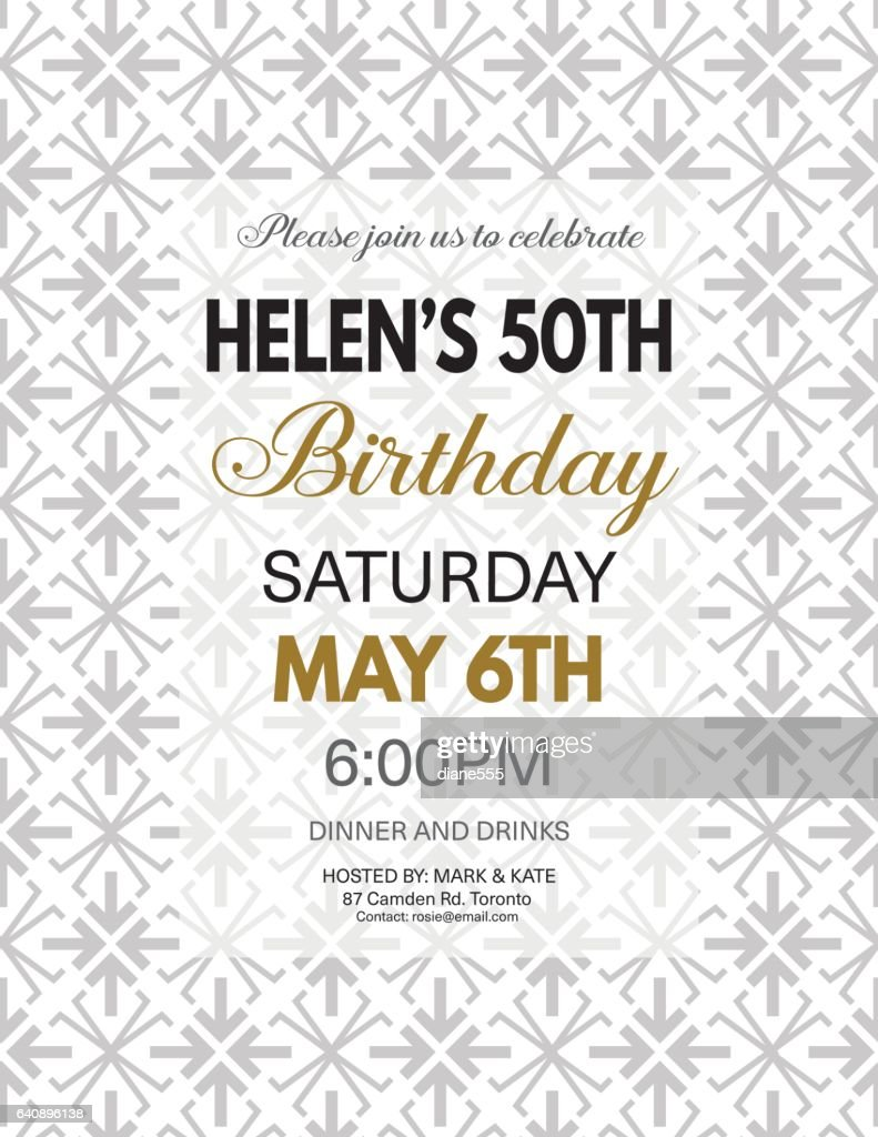 birthday party invitation template on a bold geometric pattern