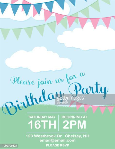 birthday party invitation template with clouds - happy birthday banner stock illustrations