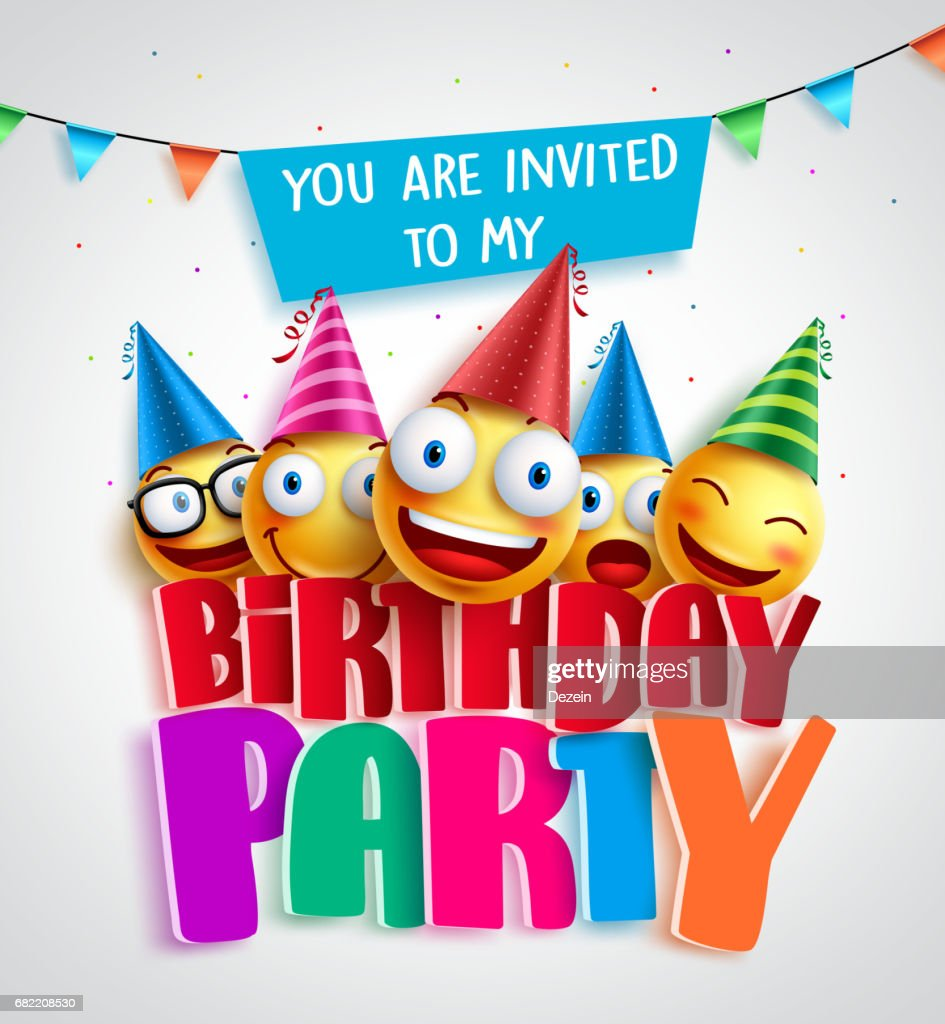 Birthday party invitation vector design with happy smileys wearing