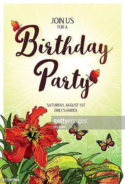 Birthday Party Invitation vertical card 10.4x15.2 cm Red Parrot Tulips