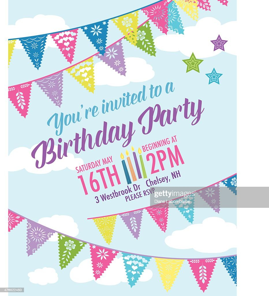 Birthday party invitation with diagonal blue and pink pennant flags birthday party invitation with diagonal blue and pink pennant flags vector art stopboris Images