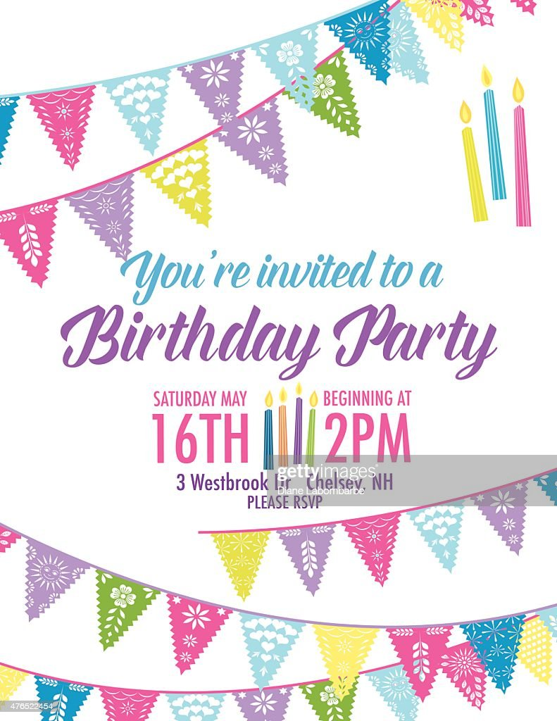 Birthday Party Invitation With Diagonal Blue And Purple Pennant ...