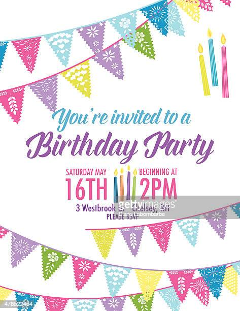 Birthday Party Invitation with Diagonal Blue and Purple Pennant Flags