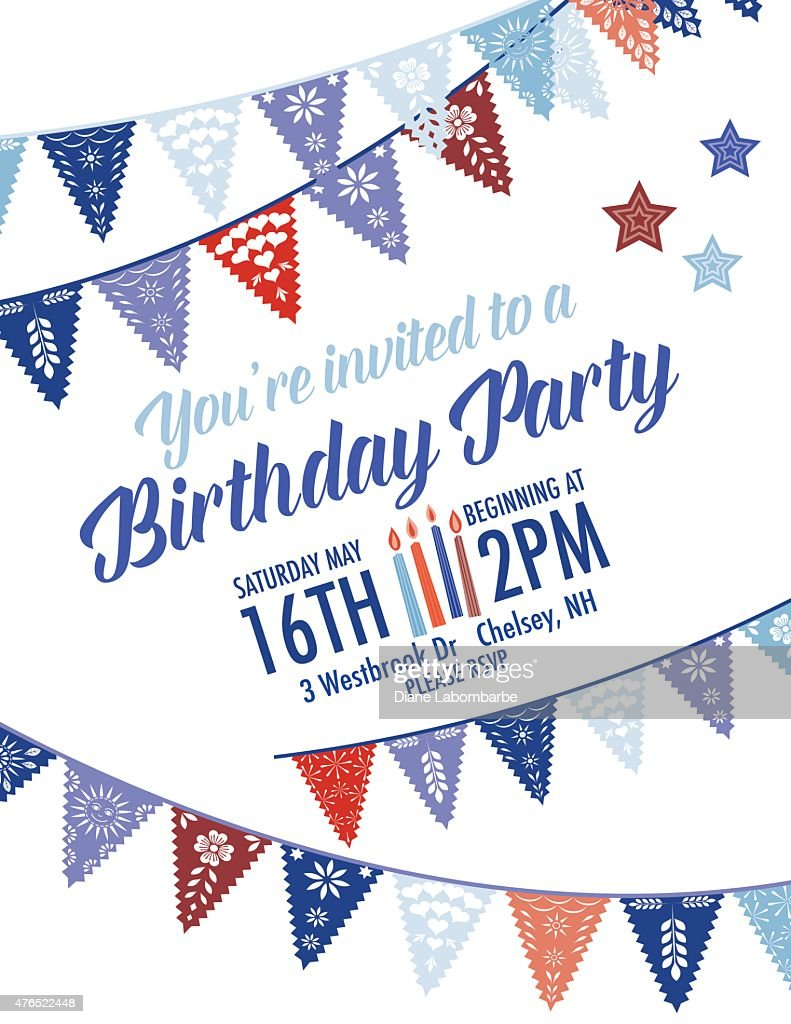 Birthday Party Invitation With Diagonal Blue And Red Pennant Flags ...