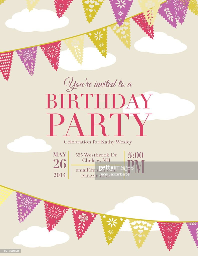 Birthday Party Invitation With Triangle Flags Vector Art   Getty Images